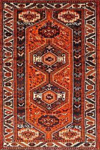 Excellent Geometric Tribal Bright Orange Qashqai Wool Runner Rug Hand-made 4'x9'