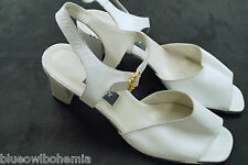 "BALLY Switzerland Strappy Sandals White ""Senate"" Shoes Pumps Wedding Prom 7 C 40"