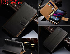 For Sony Xperia Z1 Mini Compact D5503 Black Genuine Leather Case Stand Cover