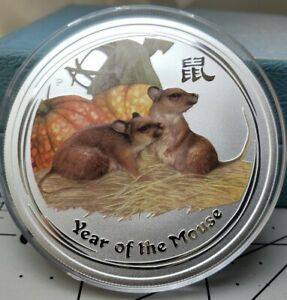 2008-P Australia Lunar Year Mouse $2 Silver 2 Ounce Coin , in Capsule, Lowest $
