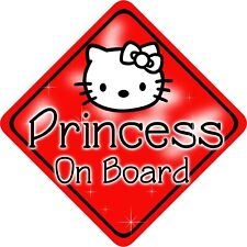 Non Personalised Child/Baby On Board Car Sign~ Red Princess Kitty