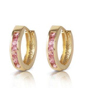 1.3 Ct 14k Solid Yellow Gold Hoop Huggie Earrings Pink Sapphire