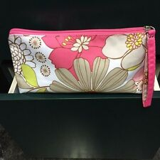 "Clinique Floral Print Polyester Zippered Top Cosmetic Case (Nwot) 10"" x 5"" x 3"""