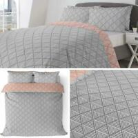 Grey Duvet Covers Orange Geometric Diamonds Reversible Quilt Cover Bedding Sets
