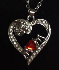 Silver and Red Heart Crystal Necklace Mothers Day Gift- Includes Velvet Gift Box