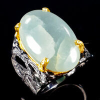 Vintage23ct+ Natural Aquamarine 925 Sterling Silver Ring Size 9/R116063
