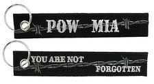 """POW MIA 6"""" Embroidered Key Ring Black"""