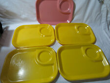 5 Vintage Rubbermaid Melamine TV Trays 3850 YELLOW  Picnic Snack Lunch Plates