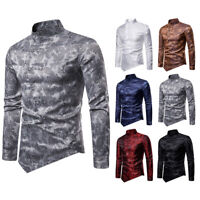 Fashion Men's Slim Fit Paisley Shirts Long Sleeve Casual Shirt asymmetrical Hem