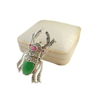 Jade Ruby & Marcasite Bug Scorpion Insect Brooch Sterling Silver