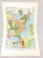 1888 Antik Map Of Die Vereinigte Staaten Von America East Coast Französisch 19th