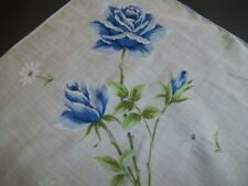 Huge Size Lg Blue Roses Vintage Ladies Womens Handkerchief Hand Rolled Hem