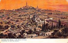 VINTAGE MOUNT OF OLIVES JERUSALEM Antique POSTCARD Mosque Sunset Pilgrims / A6