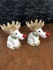 Vintage Japan Fitz and Floyd Reindeer Candle Holders