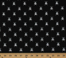 Cotton Goth Bugs Beetles Insects Black Cotton Fabric Print by Yard D587.39