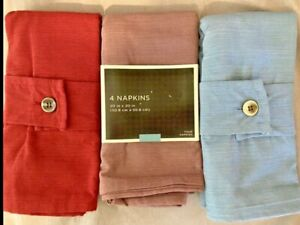 Threshold 4 pack of Cloth Table Napkins / New Blue / Plum / Red Wine
