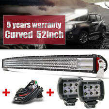 Combo Curved 52inch LED Light Bar 3000W Offroad +4'' Pods SUV 4X4 Boat +Harness
