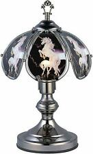 "Modern Unicorn Theme Dark Chrome Finish Metal Base Desk Table Touch Lamp 14.25""H"