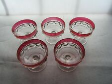 5 Kings Crown Thumbprint Sherbets Desserts Cranberry Ruby Flashed Indiana Glass