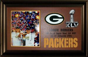 Framed Super Bowl XLV MVP Aaron Rodgers 8x10 Green Bay Packers on a Football Mat