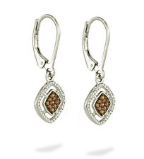 10K White Gold Chocolate Brown & White Diamond Earrings .33ct Dangle Leverbacks