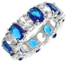 Sapphire Cz Cubic Zirconia OVAL cut Cocktail Wedding Anniversary ETERNITY Ring