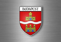 Sticker decal souvenir car coat of arms shield city flag budapest hungary