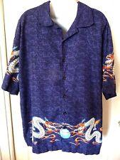 Dragon Flames Shirt  L  Large  Blue Black TD by Priority Male Urban Club