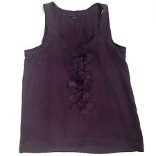 a9d81db2651610 100% Silk THEORY Plum Tank Top with Ruffle Women s Size Small Vasala