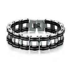 """Bracelet Chaîne Moto Homme  Acier Inoxydable Silicone Noir """"""""SUPER LARGE 2 CM"""""""""""