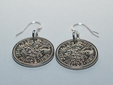 More details for birthday lucky sixpence earrings - wow great gift idea from 1953 - 1967