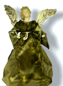 Victorian Christmas Angle Tree Topper Sage Green Lame Organza Gown Gold Wings LG