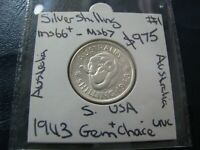 Australia 1943 s Silver Shilling KGVI Coin GEM Choice Uncirculated USA