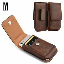 for SAMSUNG GALAXY J3 - Vertical BROWN Leather Pouch Holster Case w/ Belt Clip