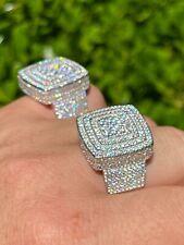 Большие реальные твердого стерлингового серебра 925 мужские со льдом бриллиант багет выход кольцо хип-хоп
