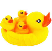 NEWLY 4X BABY BATH BATHING TOYS RUBBER RACE SQUEAKY DUCKS BABIES WITH ADULT DUCK