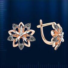 Russian Rose Gold 14k/ 585 Round Amethyst Earrings Hook Closure 4.05 G