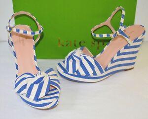 New $228 kate spade New York Janae Blue/Cream Stripe Wedge Platform Sandal