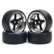 4Pcs SetFlat Drift Tire Wheel Rim For 1:10 RC On-Road Car 6mm Offset  PP0104/047
