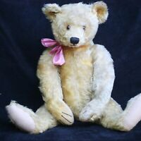 ANTIQUE LARGE STEIFF TEDDY BEAR 1920s 64cm CHARACTER BEAR w  BUTTON & HORSE