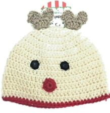 New With Tags Rudolph Christmas Crochet Infant Hat Photo Prop Size 0-6 Months