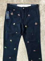 "RALPH LAUREN POLO DARK BLUE SLIM FIT CHINOS TROUSERS PANTS - 31"" - NEW & TAGS"
