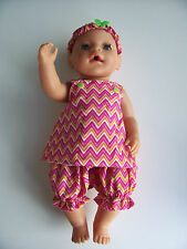 "Dolls 3 piece set pink stripe  to fit Baby Born 17"" size doll"