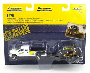 1:64 ERTL *NEW HOLLAND* Dodge Ram Pickup Truck w/Trailer & L170 Skidsteer *NIP*