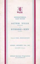ASTON VILLA v DYNAMO KIEV ~ FRIENDLY ~ 13 NOVEMBER 1961