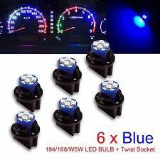 "6x T10 168 194 Led instrument Panel Dash Light Bulb 1/2"" Twist Lock Socket  Blue"