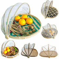 Foldable Bamboo Basket Mosquito Dustpan Home Food Storage Tray Dustproof Cover