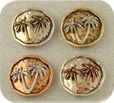 2 Hole Beads Island Palm Tree Circles Rustic Finish ~ 3T Metal Sliders QTY 4
