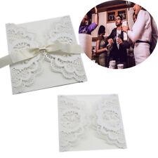 50stk Lasergeschnittene Hochzeit Einladungskarten - Rustikal mit weißer Spitze