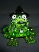 Fitz & Floyd Glass Menagerie Green Frog with Hat 643/47 & Box
